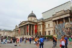 国家肖像馆室外空间特拉法加广场伦敦英国 免版税库存图片