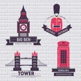 国家英国象征元素,网和流动应用标签模板您的产品或设计的与文本 图库摄影