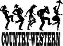 国家西部舞蹈剪影横幅 库存图片