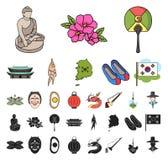 国家韩国动画片,在集合收藏的黑象的设计 旅行和吸引力传染媒介标志股票网 库存例证