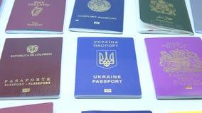 国家(地区)不同英语四法语-意大利语语言护照护照西班牙语字 影视素材