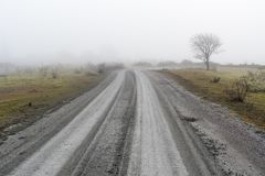 国家(地区)有薄雾的路 免版税图库摄影