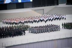 国庆节排练 库存图片