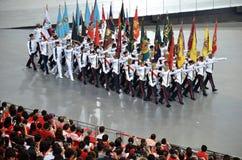国庆节游行排练2016年在新加坡 图库摄影