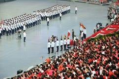 国庆节游行排练2016年在新加坡 库存照片