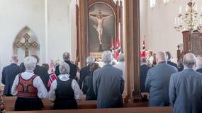 国庆节的庆祝在新教徒的教会里 免版税库存图片