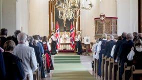 国庆节的庆祝在新教徒的教会里 免版税图库摄影