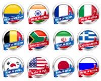 国旗与赞许的银徽章在白色背景签字-导航eps10 免版税库存照片