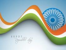 国旗颜色挥动与Ashoka轮子为共和国天 免版税库存照片