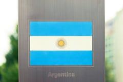 国旗系列在杆-阿根廷的 被过滤的图象:十字架被处理的葡萄酒作用 库存图片