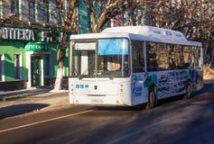 国民自由公共汽车路线在沃罗涅日 免版税库存照片