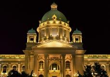 国民议会在晚上,贝尔格莱德,塞尔维亚 免版税库存照片