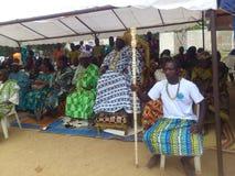 国王和部族领导国庆节年会在人阿肯人中在象牙海岸 免版税库存图片