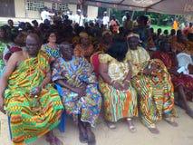 国王和部族领导国庆节年会在人阿肯人中在象牙海岸 免版税库存照片
