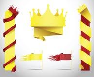 国王在纸张被折叠的样式的冠横幅。 库存照片