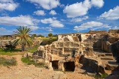 国王的坟茔,考古学博物馆在塞浦路斯的帕福斯 库存照片