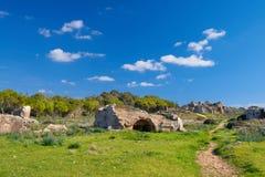国王的坟茔,考古学博物馆在帕福斯,塞浦路斯 免版税库存图片