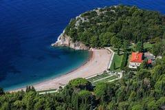 国王` s海滩在Milocer,黑山 库存照片