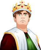 年轻国王With Crown Shoulders Up 图库摄影