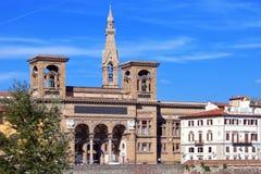 国立图书馆Italy.Florence.The古老大厦亚诺河河的 免版税库存图片