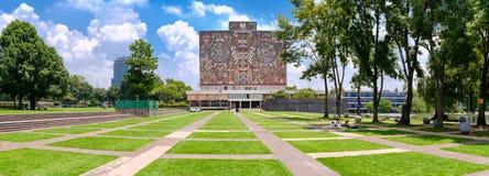 国立自治大学的中央图书馆在墨西哥 免版税库存图片