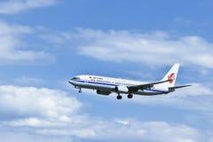 国航B-5622,波音737-89L着陆在北京,中国 免版税库存图片