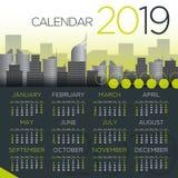 2019国际企业日历-传染媒介模板 向量例证