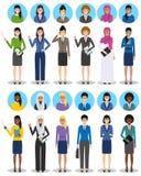 国际企业队和配合概念 套站立用不同的位置的女实业家的例证 不同的na 图库摄影