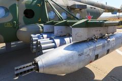 """国际军事技术论坛""""ARMY-2017"""" 重的军用直升机MI-8AMTSH导弹发射装置  免版税库存图片"""