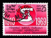 国际劳工组织, serie,大约1969年 免版税库存照片