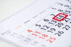 国际占星术天 3月14日在日历的标记, clos 免版税库存照片