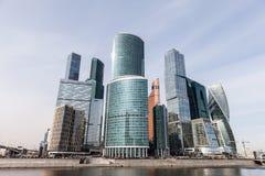 国际商业中心现代建筑学摩天大楼在莫斯科市的 免版税库存照片
