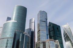 国际商业中心现代建筑学摩天大楼在莫斯科市的 库存照片