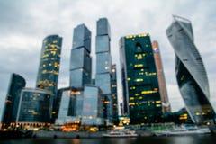 国际商业中心莫斯科市Defocused看法  免版税库存照片
