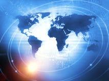国际商业在蓝色的背景概念 免版税库存照片