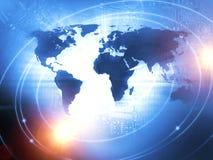 国际商业在蓝色的背景概念 图库摄影