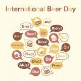 国际啤酒天例证,平的样式设计 图库摄影