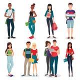 国际大学或学院组织年轻学生字符和夫妇收藏 免版税库存图片