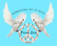 国际天和平,与玫瑰的鸽子在和平标志shap 免版税库存图片