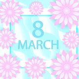 国际妇女天贺卡现代纸削减了样式 您的设计的3月8日模板 也corel凹道例证向量 免版税库存照片