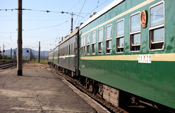 国际性组织火车在北朝鲜 免版税库存照片