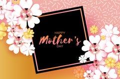 国际愉快的母亲节 与精采石头的白色花卉贺卡 方形的黑框架 库存图片