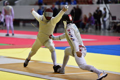 国际操刀的比赛圣彼德堡箔2015年 免版税库存图片