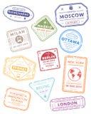 国际旅行签证图章 库存例证