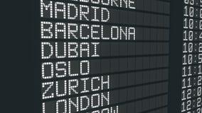 国际机场到来桌标志,起源城市预定名单时间 库存例证