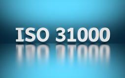 国际标准 在蓝色背景的词ISO 31000 皇族释放例证
