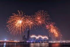 国际烟花节日在汉城,韩国 免版税库存图片