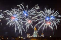 国际烟花节日在莫斯科 免版税图库摄影