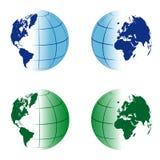 国际现实两张面孔蓝色地球 免版税库存照片