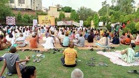 国际瑜伽天2017年 免版税库存图片